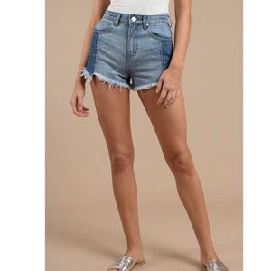 Free People Raw Step Hem Denim Shorts